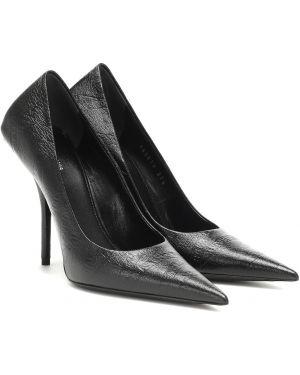 Туфли на каблуке черные кожаные Balenciaga