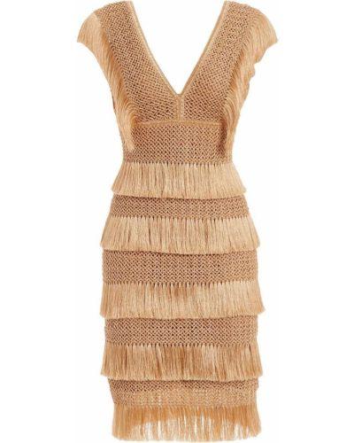 Коричневое вязаное платье миди без рукавов Patbo