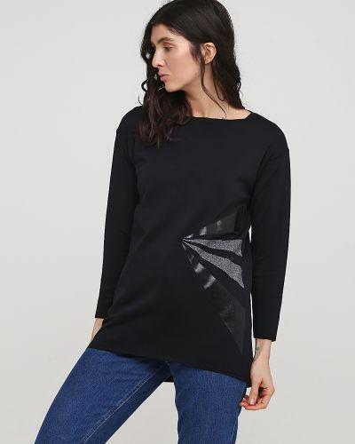 Черный лонгслив с длинными рукавами из плотной ткани Sisi