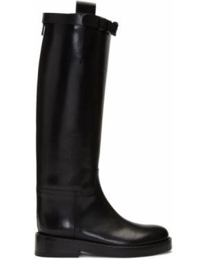 Сапоги на высоком каблуке черные на шнуровке Ann Demeulemeester