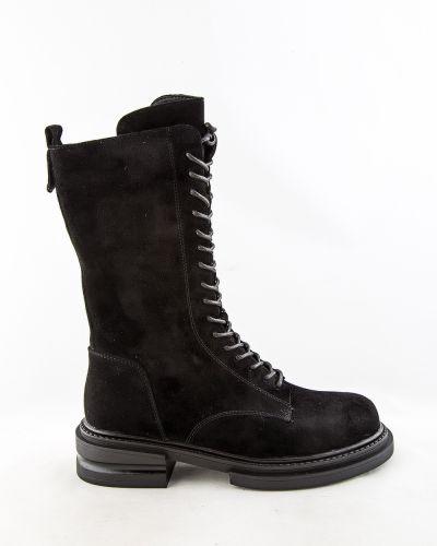 Черные кожаные сапоги Sidestep