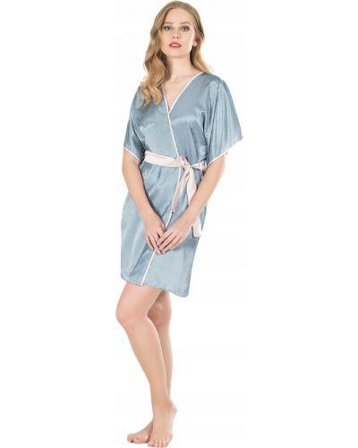 Z rękawami satyna niebieski szlafrok z więzami Victoria's Secret