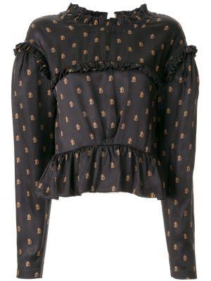 Шелковая блузка - синяя Preen By Thornton Bregazzi
