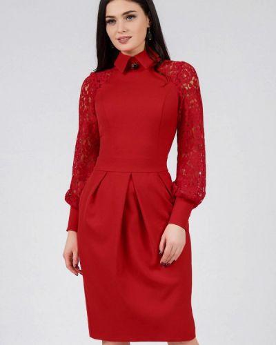 Платье миди красный осеннее Grey Cat