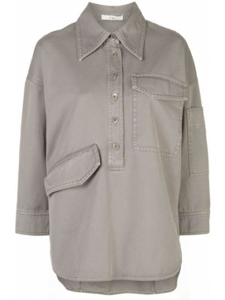 Bawełna klasyczny klasyczna koszula z kołnierzem z kieszeniami Tibi