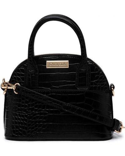 Czarna torba na ramię skórzana z printem Carvela
