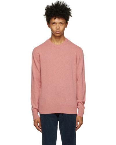 Шерстяной розовый свитер с воротником с манжетами Doppiaa