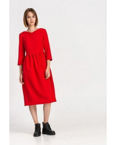 Красное костюмное платье миди с драпировкой из вискозы Vovk