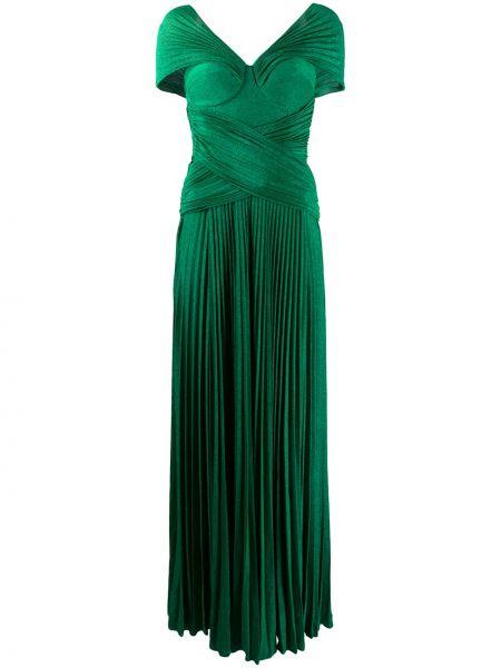 Платье мини плиссированное с V-образным вырезом Elisabetta Franchi