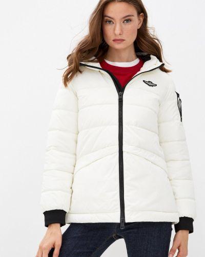 Белая теплая зимняя куртка Aeronautica Militare