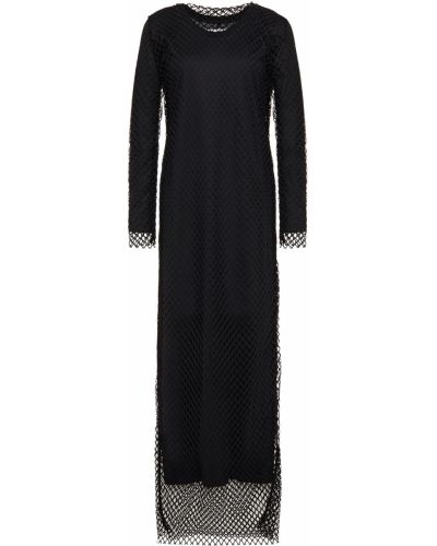 Czarna sukienka długa z siateczką bawełniana Marques Almeida