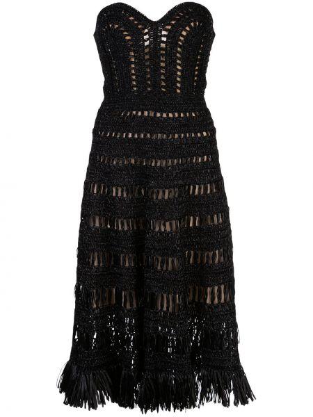 Черное платье с бахромой с вырезом из вискозы Oscar De La Renta