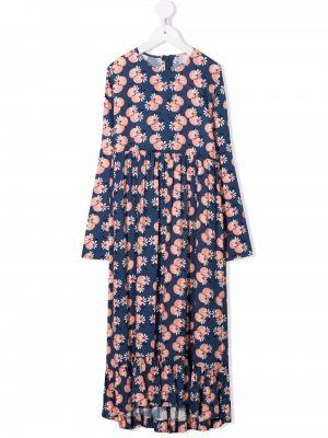 Niebieska sukienka długa w kwiaty Marni Kids