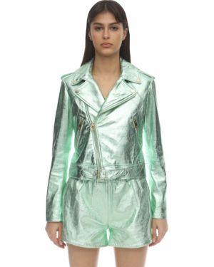 Кожаный пиджак с карманами мятный на кнопках Coco Cloude