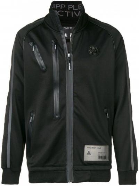 Czarna długa kurtka bawełniana z długimi rękawami Philipp Plein