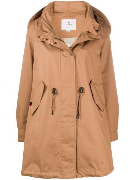 Пальто с капюшоном длинное на кнопках Woolrich