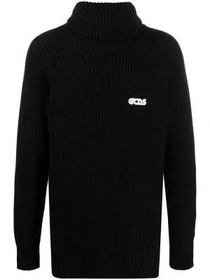 Шерстяной с рукавами черный джемпер Gcds