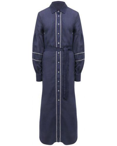 Льняное синее платье 120% Lino