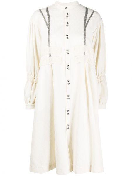 Бежевое ажурное льняное платье макси с длинными рукавами Renli Su