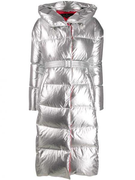 Нейлоновое пальто с капюшоном на молнии с поясом айвори Nicole Benisti