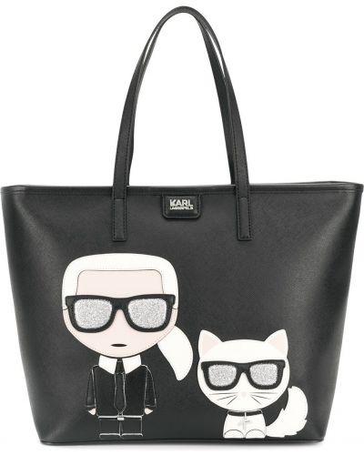 Кожаная сумка шоппер черная Karl Lagerfeld