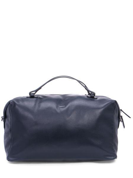 Кожаная синяя кожаная сумка на молнии Lancel