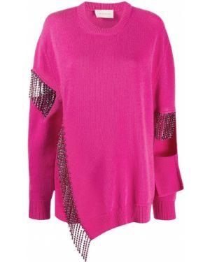 Асимметричный шерстяной розовый джемпер в рубчик Christopher Kane