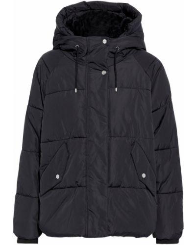 Черная куртка с капюшоном из искусственного меха Dkny