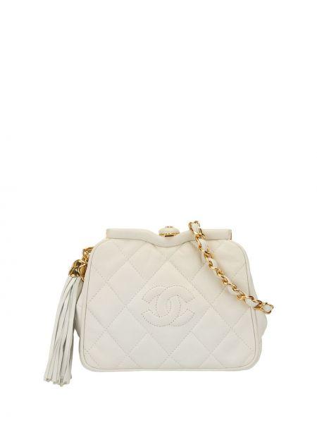 Кожаная белая стеганая кожаная сумка Chanel Pre-owned