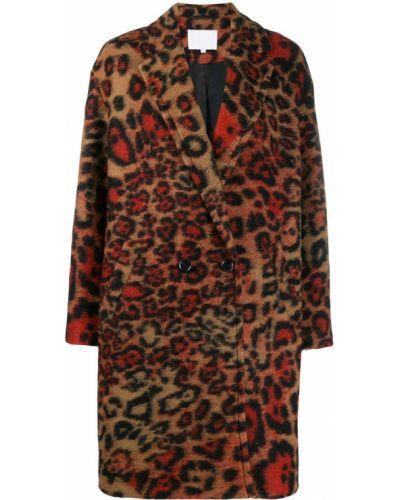 Коралловое шерстяное длинное пальто с воротником Lala Berlin