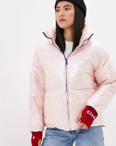 Теплая розовая утепленная куртка Liana