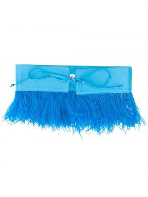 Кожаный синий ремень с поясом с завязками Attico