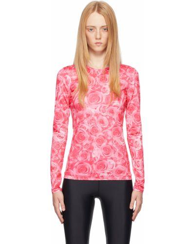 Różowy t-shirt z długimi rękawami z printem Saks Potts