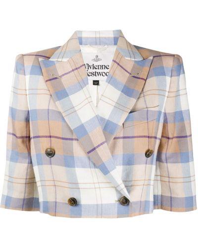 Шерстяной классический пиджак в клетку двубортный Vivienne Westwood