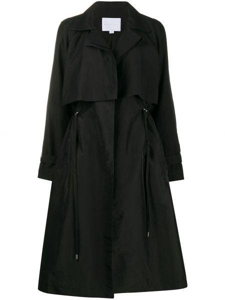 Хлопковое черное пальто на пуговицах с разрезом Noon By Noor