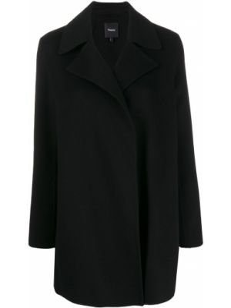С рукавами черное шерстяное пальто с воротником Theory