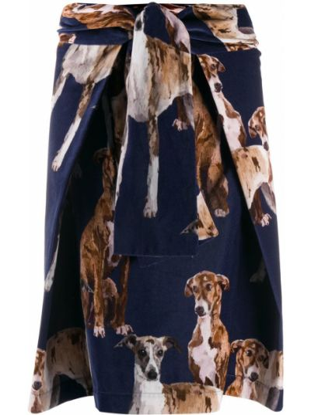Синяя с завышенной талией юбка Sara Roka