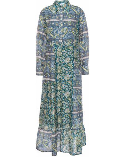 Niebieska sukienka z jedwabiu Antik Batik