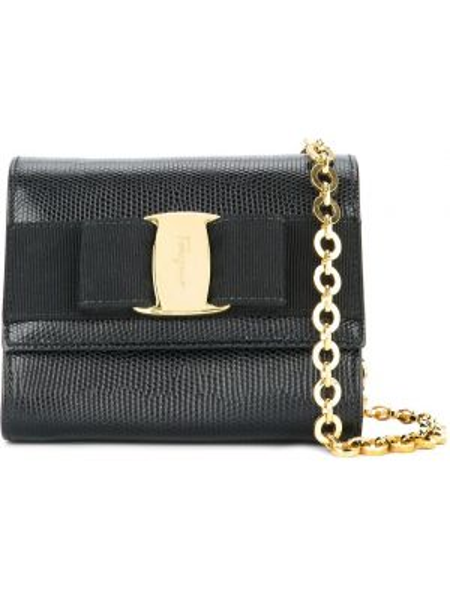Кожаная черная кожаная сумка винтажная Salvatore Ferragamo Pre-owned