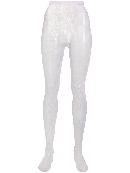 Колготки сетчатые белые с завышенной талией Marine Serre