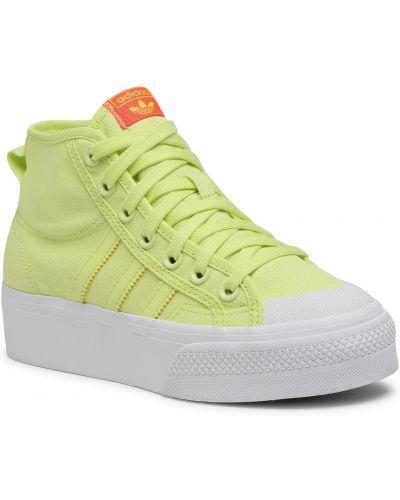 Półbuty na platformie - żółte Adidas