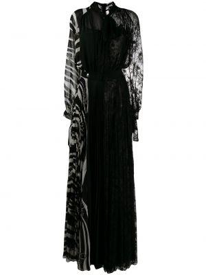Плиссированное приталенное черное вечернее платье Philipp Plein