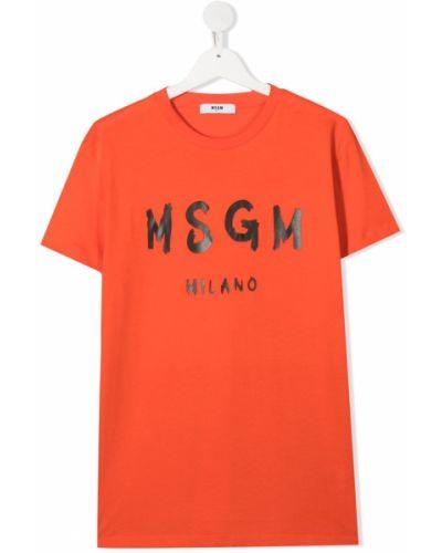 Хлопковая оранжевая с рукавами футболка Msgm Kids