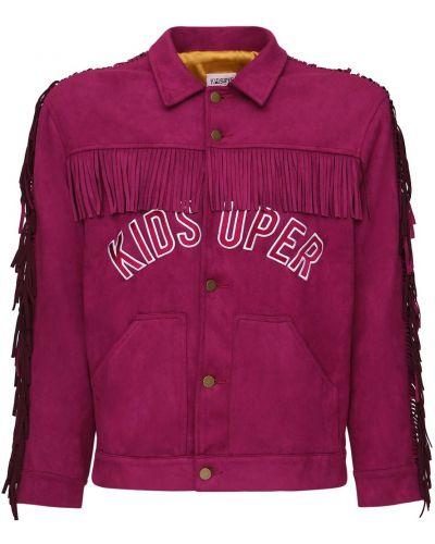 Fioletowa koszula z haftem zamszowa Kidsuper Studios
