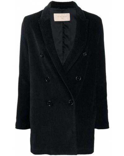 Черный удлиненный пиджак вельветовый двубортный Circolo 1901