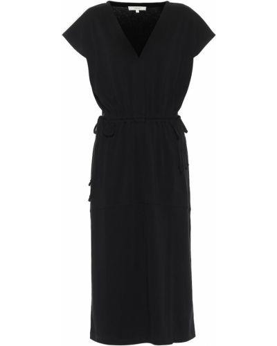 Ватное хлопковое черное платье миди Vince.