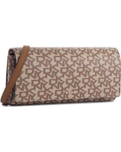 Skórzany portfel brązowy Dkny