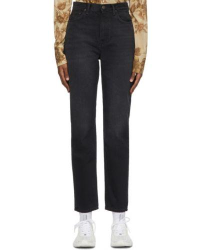 Prosto czarny jeansy na wysokości z kieszeniami z łatami Acne Studios
