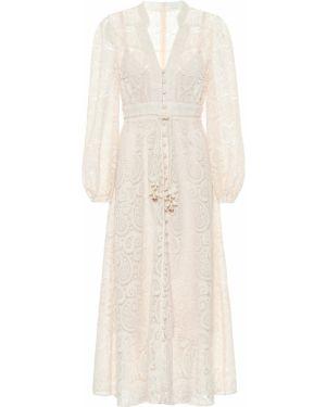Белое ажурное платье миди на шнурках Zimmermann