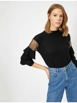 Czarna bluzka z długimi rękawami z wiskozy Koton